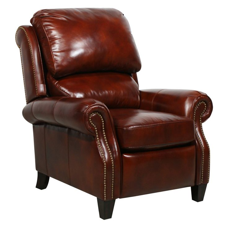 Barcalounger Churchill II Leather Recliner with Nailheads - 74440540441