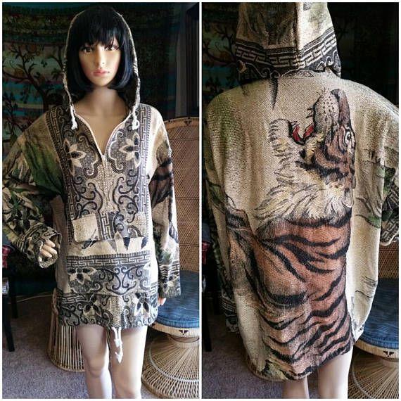 90's Tiger Baja Hoody, Thai Tiger Baja-esque Hoody, Woven Tiger Hoody Jacket, Hippie Tiger Hoodie, Unique Baja Hoody, Tiger Jacket Hoody, LG