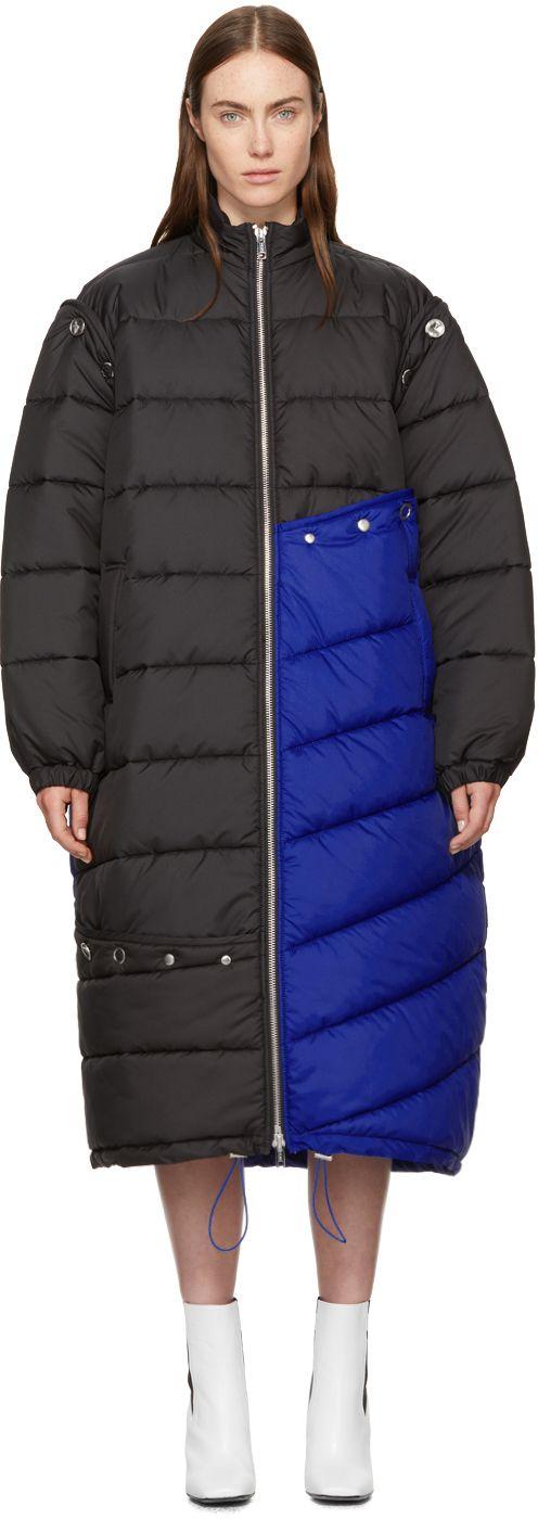 3.1 Phillip Lim - Blue & Black Long Colorblock Puffer Coat