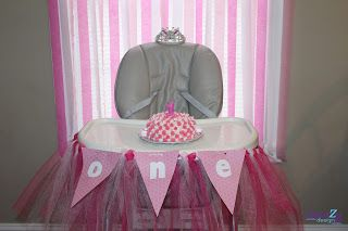 Pink Elephant 1st Birthday Party Highchair decorations