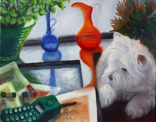 'Creative Inspirations with Miss Kitty'..this oil painting I did of another dog friend Miss Kitty who would stay with me for sleep overs. She is soo good and her regular job is to hang out on a Movie Set day in, day out with the stars of film...she is a Westland terrier.
