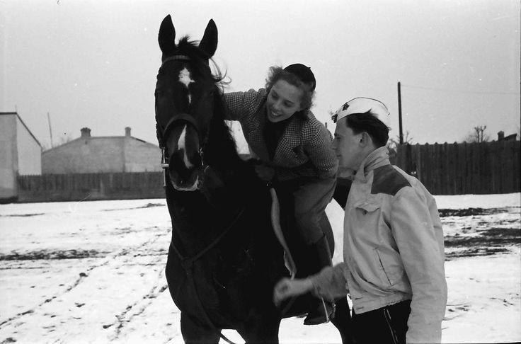 14Banesa.Berbel Smits auf Pferd und Pu füttern es, nahe.10 m.1940