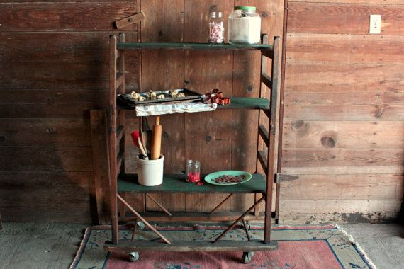 Vintage Bakers Rack Farmhouse Shelving Unit by OurVintageBungalow