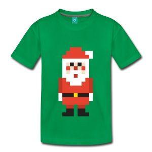 8-bit Pixel Santa Claus Kids' Shirts