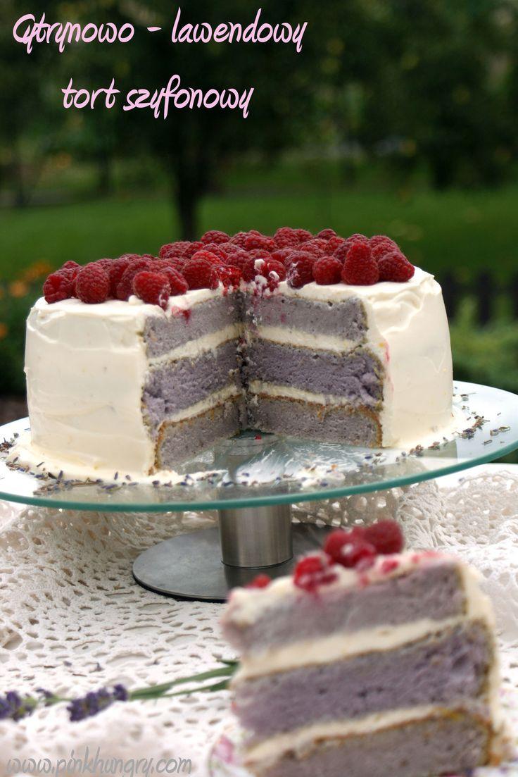 Cytrynowo - lawendowy tort szyfonowy