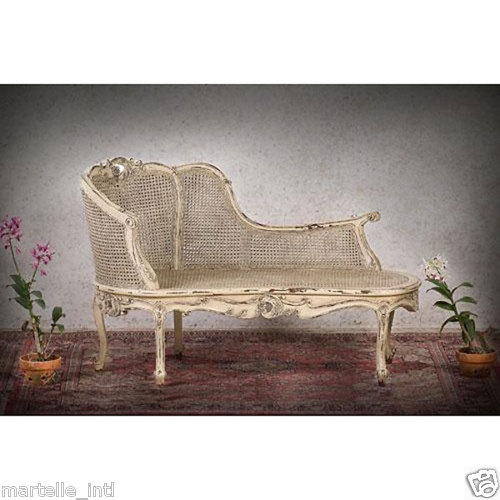 Antique look chaise mahogany carved new double cane ebay for Antique chaise lounge ebay