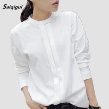 Saiqigui 2017 Primavera Nuevo de Las Mujeres Camisas Blusas de Corea Blusas Plus tamaño de Las Señoras Elegantes OL de Manga Larga de Algodón Blanco Camisa para mujeres(China (Mainland))