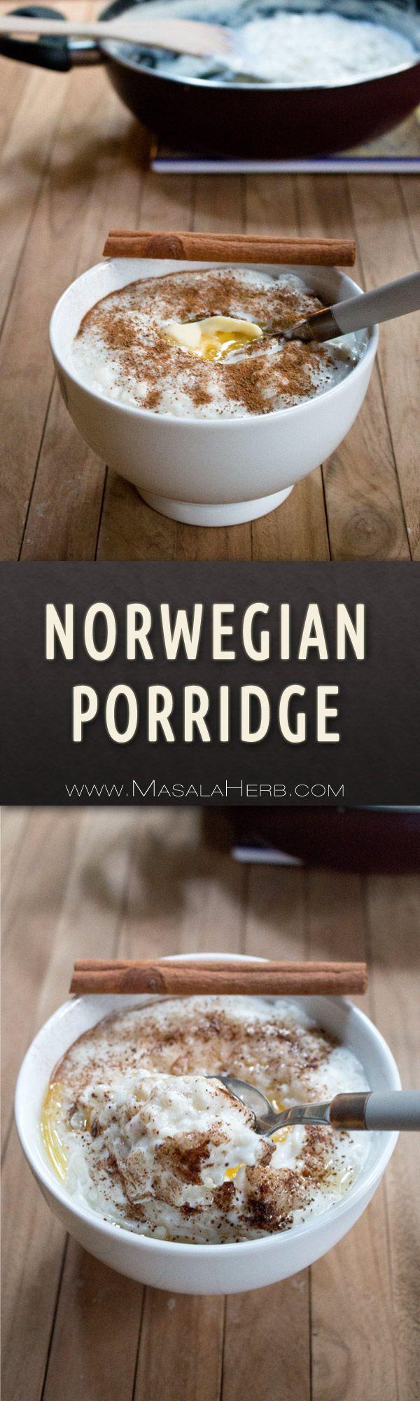 Norwegian Porridge Recipe - Risengrynsgrøt - One-Pot Rice Porridge [+Video] scandinavian christmas meal & healthier all year round breakfast dish made with rice and milk as main ingredients. www.MasalaHerb.com #porridge #rice #masalaherb #norwegian
