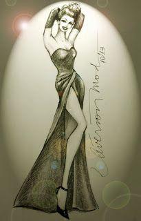 DESENHOS DE MODA: Desenhos de Moda - Desenho inspirado em Rita Haywo...