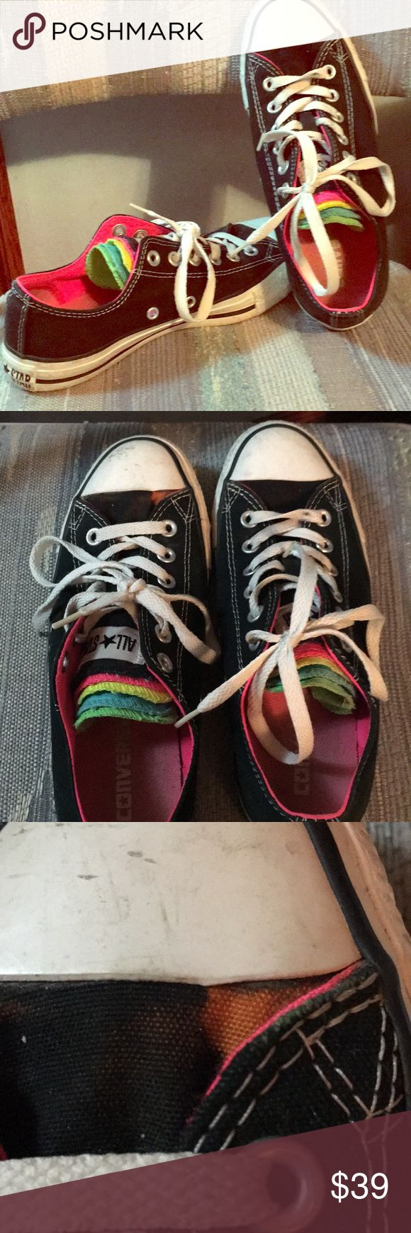 🌈 Rainbow Chucks Gently loved rainbow layered tongue on classic black and white. Totally Avril. Think Spring. Small bleach mark on left upper canvas. Not very prominent since it's next to the hot pink piping. See photo. Either way bleach spots are totally Chuck!  Size 5 kids = 7 / 7.5 women's Converse Shoes Sneakers