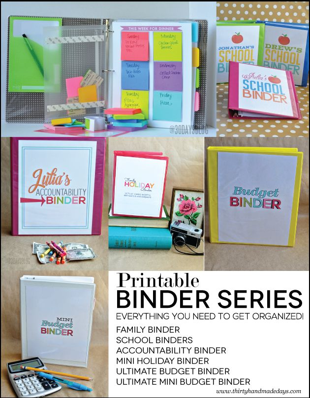 Over 100 Organizational Printables for Binders- Complete set of binders to organize your whole life.  All the hard work is done for you- you just hit print and compile!