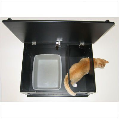 hidden litter box smaller litter pan placed inside of larger plastic tote less litter needed with some type of pad near door to remove excess litter from cat litter box covers furniture