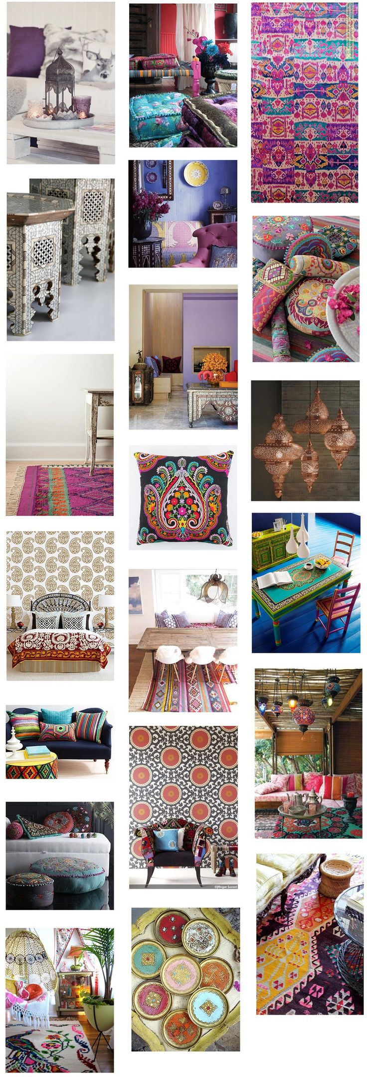 Let's inspire! Moroccan Decor So Lovely / Moroccan Rugs / Kilim Rugs & Cushions / Oriental Embroidery / Moroccan Tray Tables & Tea Trays / Statement Wallpaper / Oriental Lamps & Lanterns /