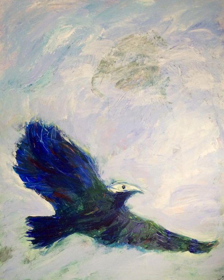 """""""Blue bird"""" """"Blå fugl"""" 100cmx80 cm Copyright by www.anne-mette.com  #modernpainting #modernart #modernekunst #fugl #blå #blåhimmel #freeasabird #artgallery #danishartist #copenhagenartist #kunst #kunstner #canvasart #canvasartist #contemporaryart #contemporaryartist #artist #art #paintingforsale #paintingoftheday #vild #wild #fri #forsale #udstilling #exhibition #exhibit #gaveide #tilsalg #emailtoorder #kunst@anne-mette.com"""