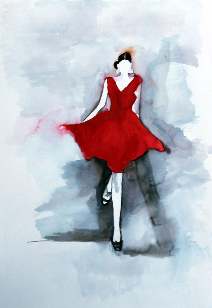 Fashion Illustration Print of Oscar de la Renta red dress from original watercolour painting by Helen Simms. £32.00, via Etsy.