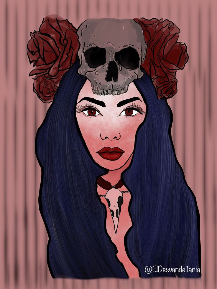 Retrato digital mujer calavera! @eldesvandetania