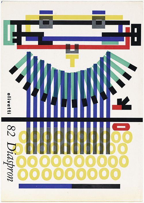 Olivetti 82 Diaspron (Abb.). Gestaltung Giovanni Pintori, Italien 1959. Druckvermerk: Code 3902544 L (Te.) Printed in Italy. 21,1 x 29,7 cm. Faltblatt.