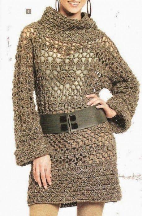 Crochet patterns: Crochet Stunning Winter Tunic Dress – Chart Explained