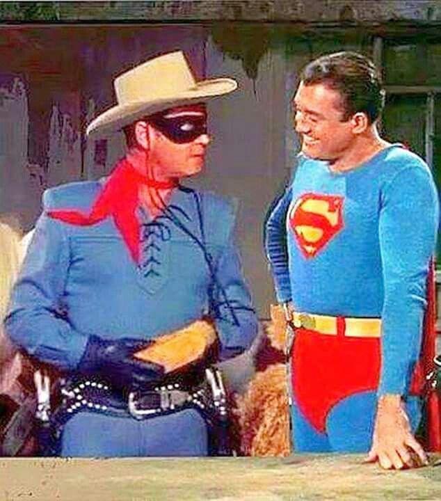 The Lone Ranger (Clayton Moore) meets Superman (George Reeves). Arghhhh. Sob, sob, sob :(-my 2 childhood heroes.....