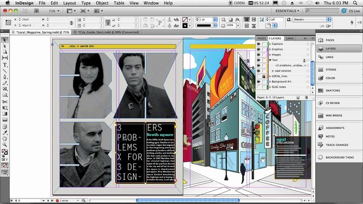 Adobe InDesign CS5 - My Top 5 Favorite Features 1-Multiple page sizes with different orientations 2-Spanning Text (split text) 3- Importing multiple links from different document 4- Gap adjusting, (interactive live corner effects) 5- Interactive documents with sound/animations/rolover/slideshow (w/out code writing!!)  Love!!