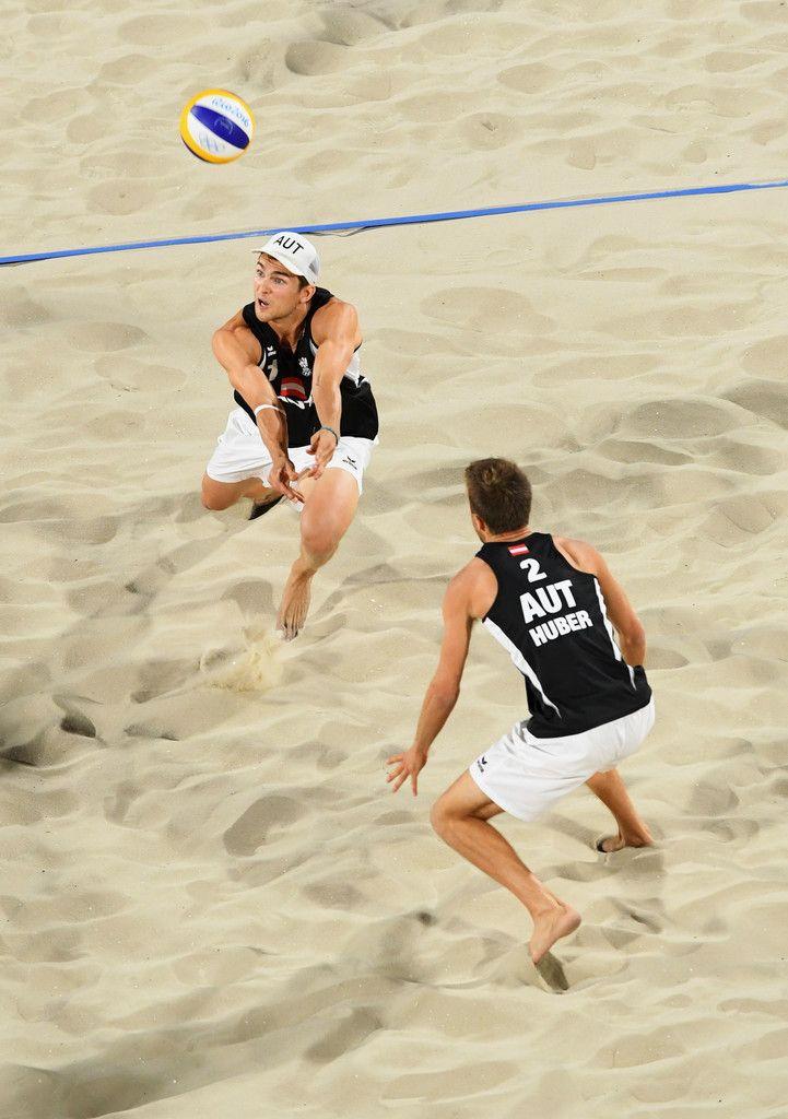 DAY 1:  Men's Beach Volleyball - Austria vs Spain - Robin Seidl and Alexander Huber of Austria