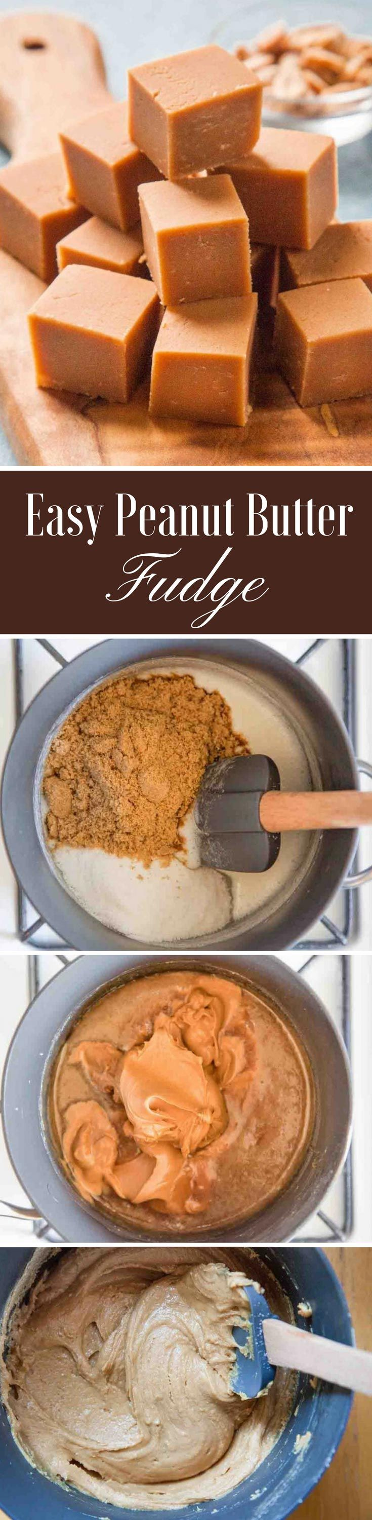 Quick and EASY peanut butter fudge! Make on the stovetop and pour into a pan. Takes 15 minutes.