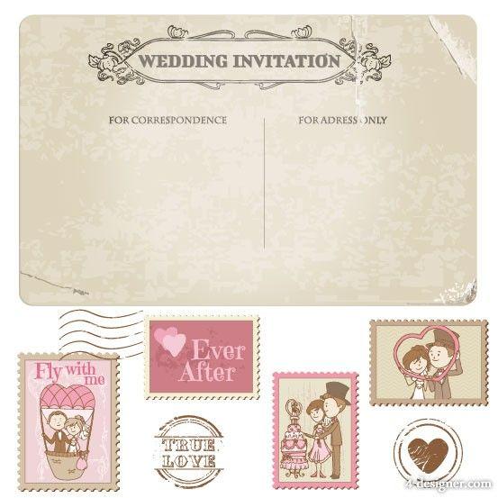 Cartoon-wedding-card-02-vector-material-20193