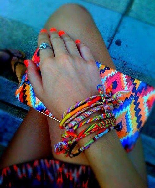 neon neon neonWallets, Nail Polish, Neon Colors, Nails Polish, Neon Nails, Tribal Prints, Friendship Bracelets, Bright Nails, Bright Colors