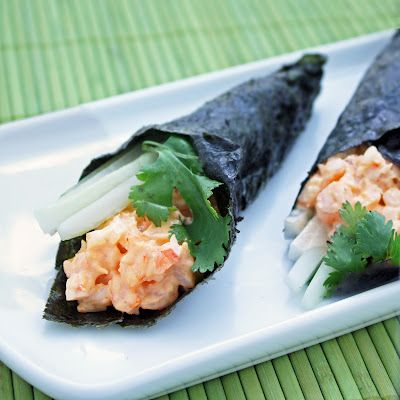 Spicy Shrimp Hand Rolls -  use 1/2 the mayo and a lil low fat/fatfree cream cheese instead. also great with sushi grade tuna