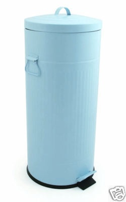 30ltr Retro Blue Steel Enamelled Kitchen Pedal Bin