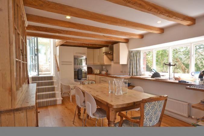 The spacious, modern kitchen.