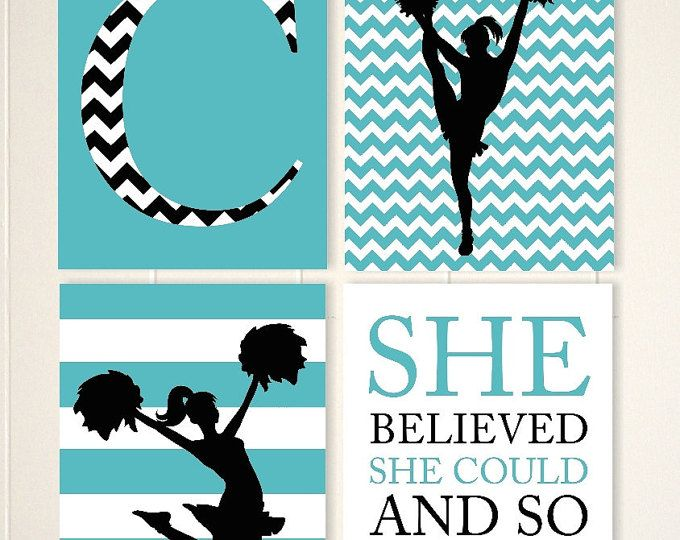 Cheerleader wall art, girls room cheer decor, girls wall art, chevron wall art, teen girl wall art, set of 4, choose your colors and sports