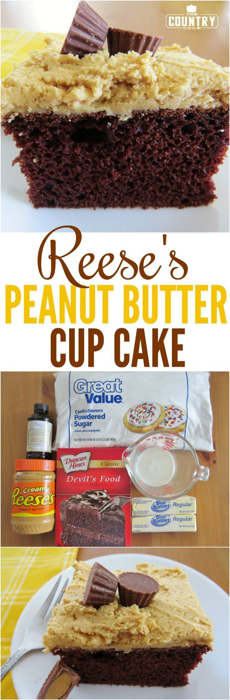 Reese's Peanut Butter Cup Cake recipe from The Country Cook
