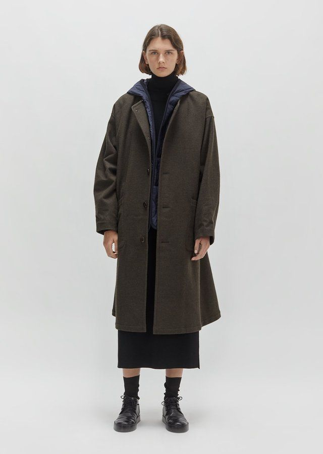 Y's Flannel Coat With Hooded Liner Khaki Size: JP 2