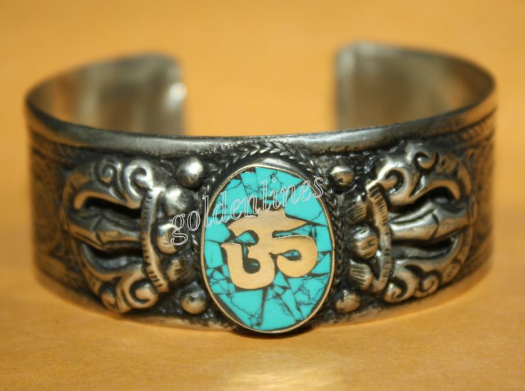 Turquoise bracelet cuff bracelet Tibet bracelet Tibetan bracelet Nepalese Bracelet gypsy bracelet bohemian bracelet Om bracelet B26 by goldenlines on Etsy