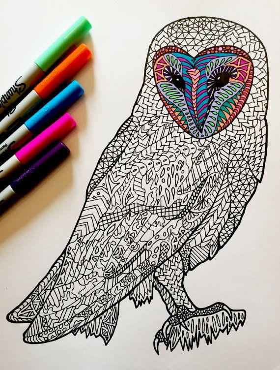 Barn Owl  PDF Zentangle Coloring Page