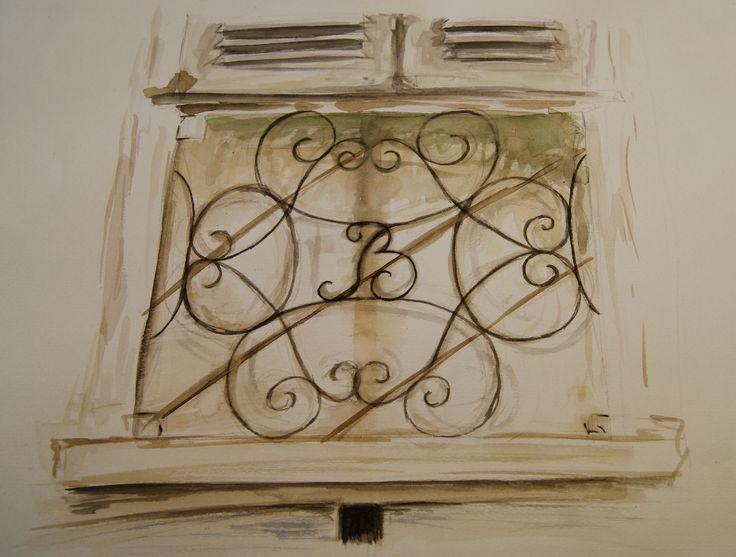 """""""Casa Bossi"""" by Alessandro Antonelli - sketch #2 - watercolour on paper"""