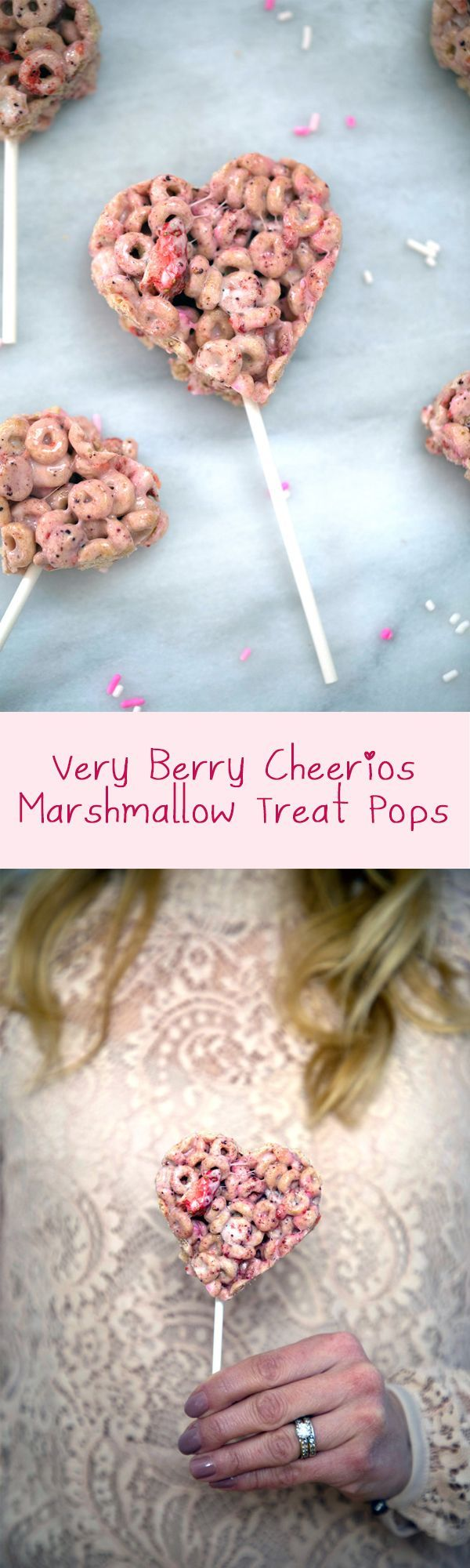 Very Berry Cheerios Marshmallow Treat Pops -- Rice Krispies Treats Style Pops made with Very Berry Cheerios and freeze-dried strawberries | wearenotmartha.com #valentinesday #ricekrispiestreats #hearts #berries #cheerios #marshmallows