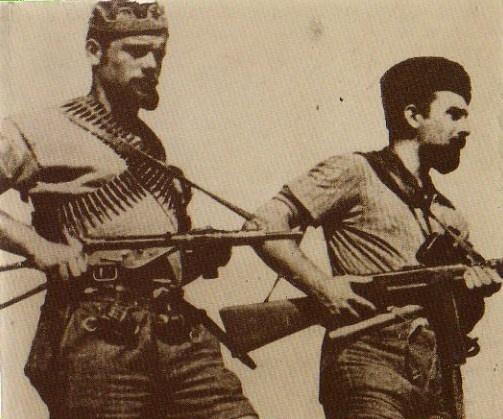 "Italian partisans , members of a ""Brigata Garibaldi""."
