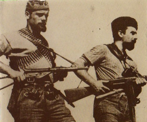 "Italian partisans , members of a ""Brigata Garibaldi""."