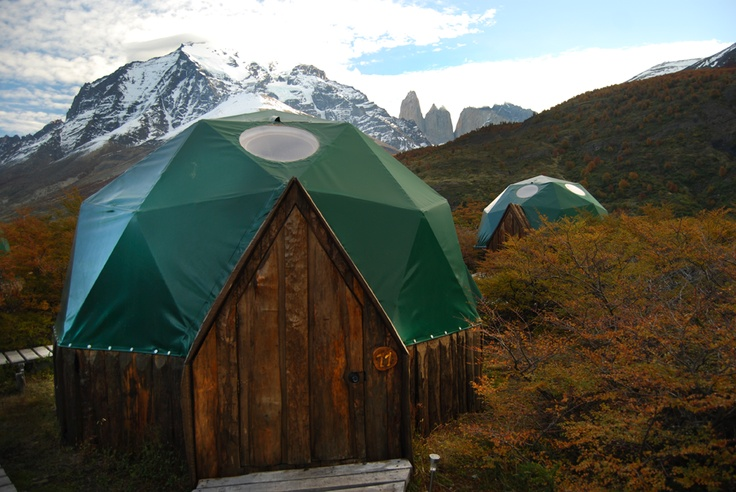 Standard Domes are fully sustainable and blend into the surrounding environment, like a little hidden village in the Patagonian wilderness http://www.ecocamp.travel/Domes/Standard