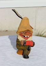 VTG Henning Norway Wood Troll Hand Carved Accordion Gnome Folk Art Figure Music