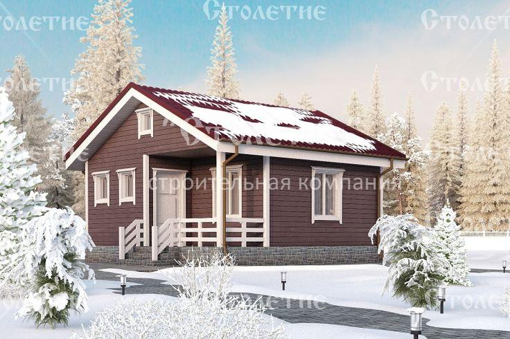 Проект дома ДБ-03 размером 6 на 6 метров в цветовом решении Зима