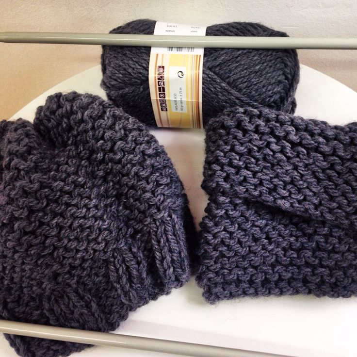 Conjunto de gorro y cuello para chico, tejido a dos agujas con lana gruesa
