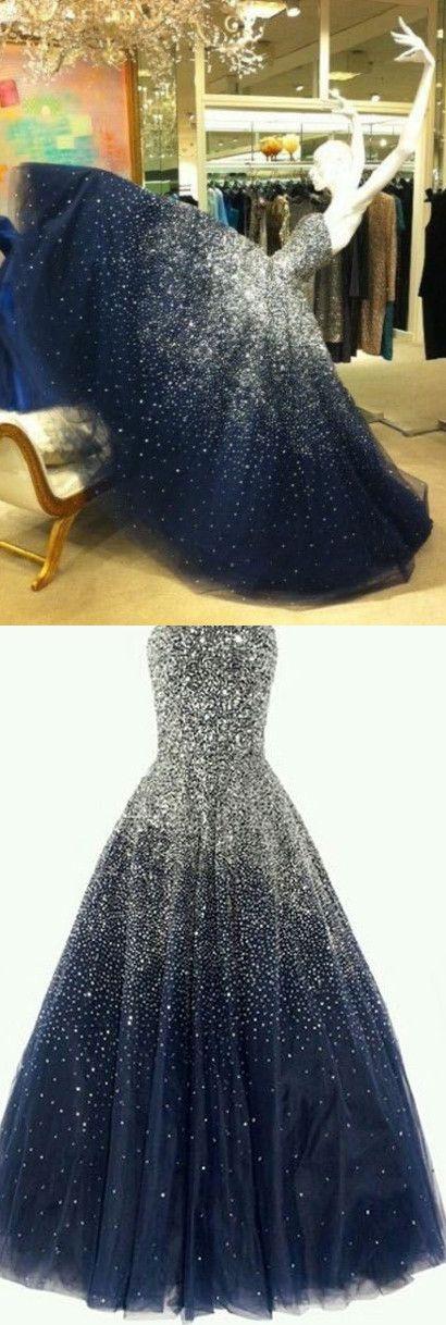 2017 Custom Made Charming Navy Blue Prom Dress,Beading Evening Dress,Sleeveless Ball Gown