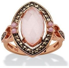Seta Jewelry Genuine Pink Cat's Eye And Black Marcasite Vintage-style Marquise Halo Ring.