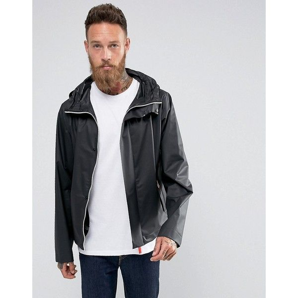 Hunter Hooded Raincheater Jacket in Black ($200) ❤ liked on Polyvore featuring men's fashion, men's clothing, men's outerwear, men's jackets, black, mens waterproof jacket, mens hooded jackets, mens tall jackets and mens tall outerwear