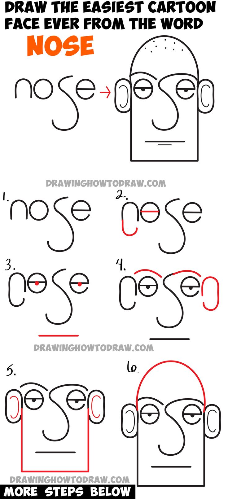 Learn How to Draw a Cartoon Face in Simplest Way : from the Word Face Step by Step Drawing Lesson