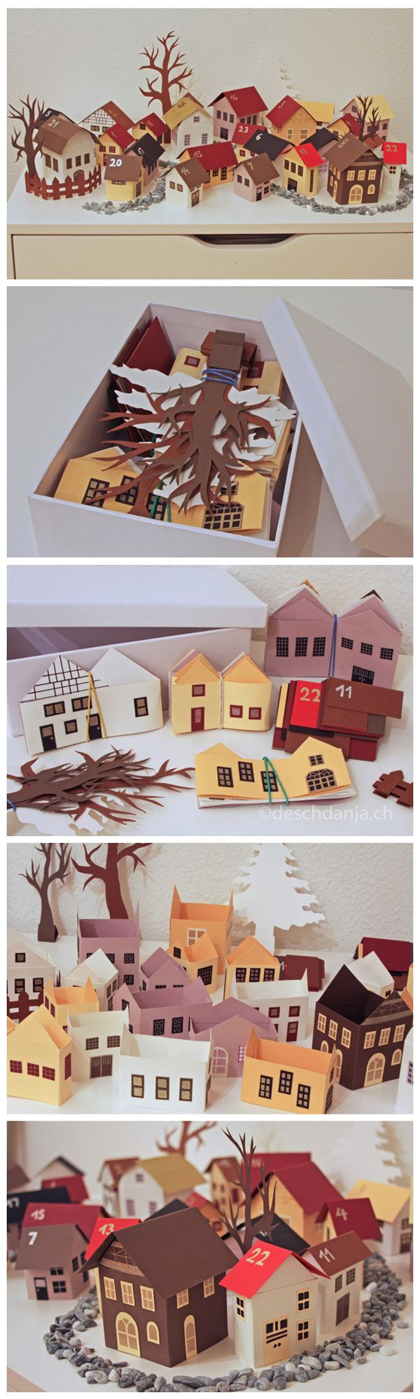 My advent calendar consists of 24 little houses made out of paper. They can be easily folded flat for storage. www.deschdanja.ch