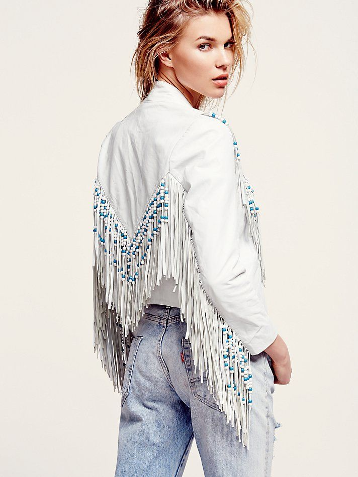 Free People Hendrix Fringe Leather Jacket,